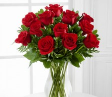 12 Roses in Vase with Greenery $89.95