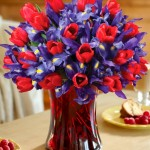 Blue & Red Tulips $69.95 & Up